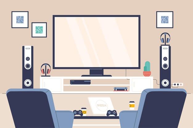 室内テレビの風景